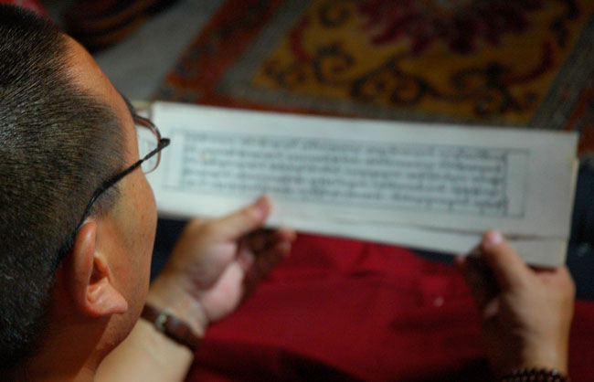 Budista leyendo email