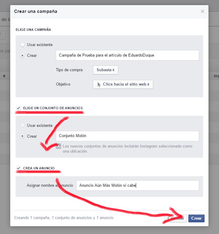Crear Campaña Facebook Ads