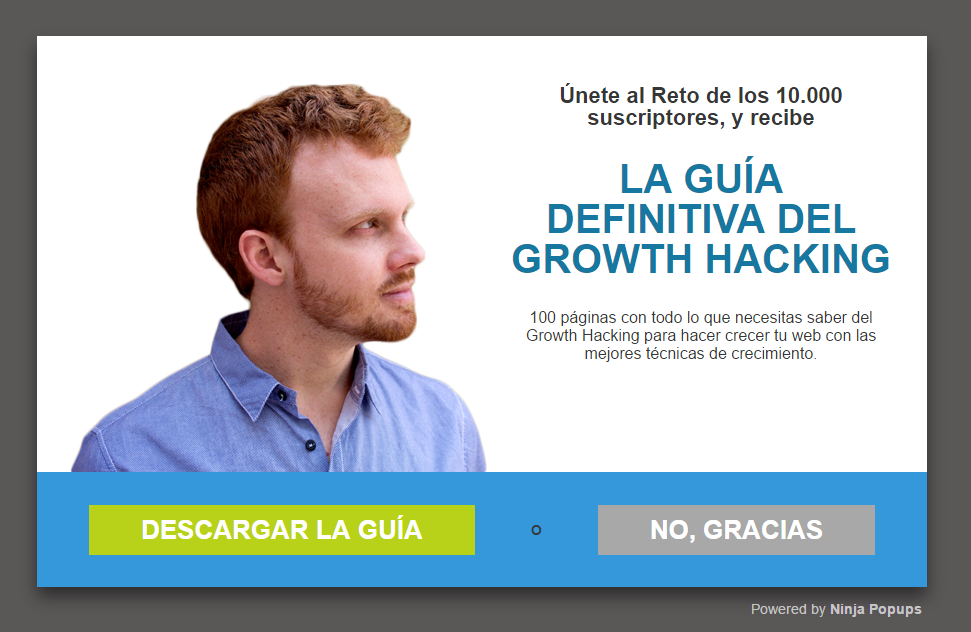 Popup guia del growth hacking